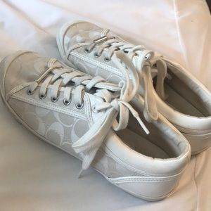 Gently used white coach shoes size 8 1/2